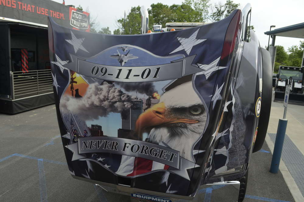 The truck's hood shows a poignant collage.