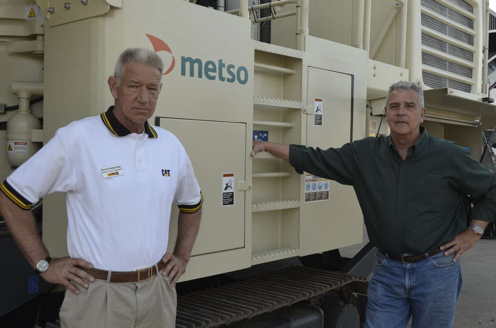 Kevin Kretschmer (L), aggregate specialist of H.O. Penn, and Eric Bjornson, Northeast distribution manager on Metso, were on hand to answer questions about Metso crushing and screening products available through H.O. Penn.
