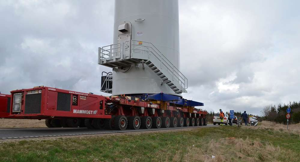 Close-up of transport with hydraulic trailers.
