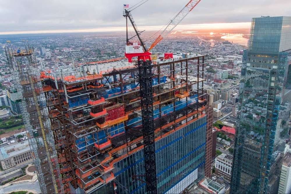 A Philadelphia-area union work stoppage has slowed construction on buildings such as the new Comcast Corp. tower.  (phillybydrone.com photo)