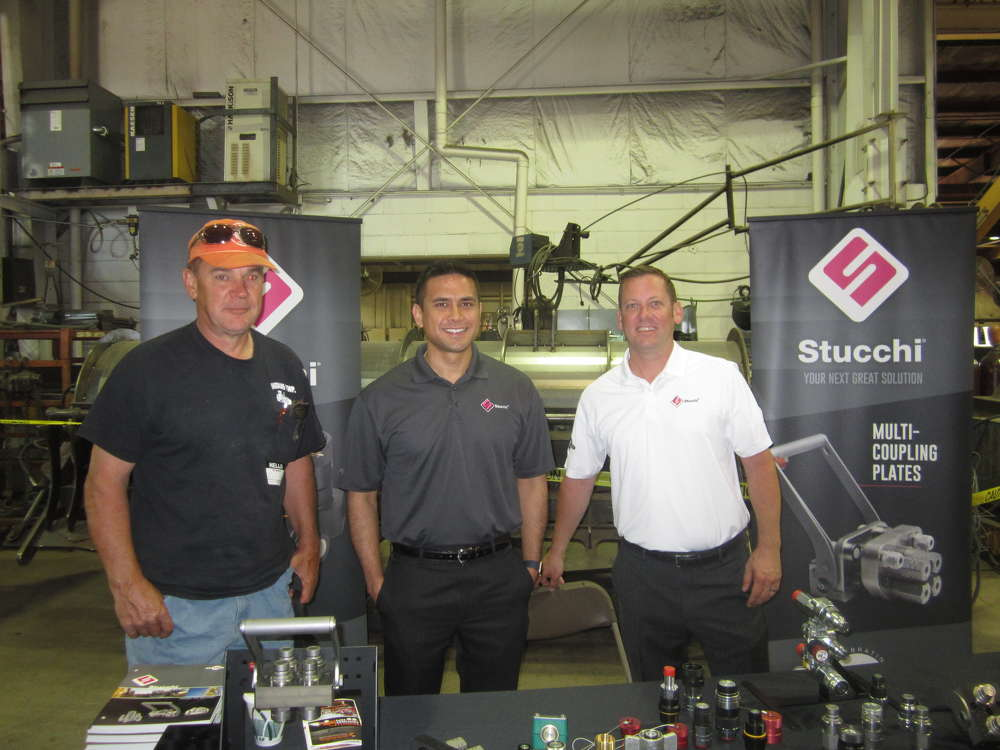 (L-R): Rich Bieschke, Waddams Township, stops at the Stucchi USA booth to visit with Dennis Budnik and Boone Powell, both of Stucchi USA.