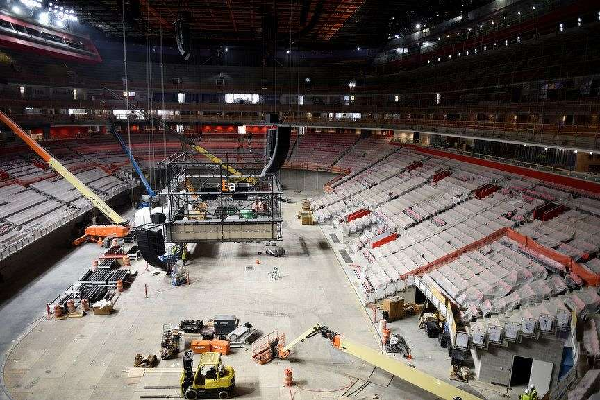 While working on the construction of the new Little Caesars Arena, an electrical worker died after falling 75 feet from a catwalk.