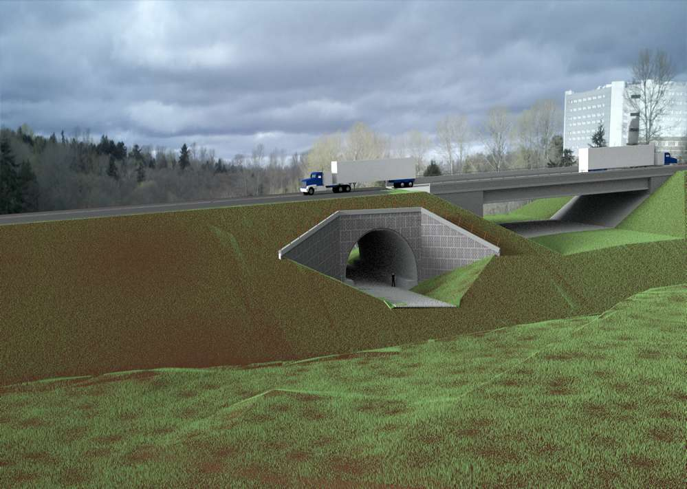 This rendering of a new road under construction near Seattle-Tacoma International Airport shows the bridge that will span the future path of a state highway extension. The nearby tunnel will become part of an on-ramp for the highway extension, which is still in the planning stages. (Ceccanti Inc. photo)