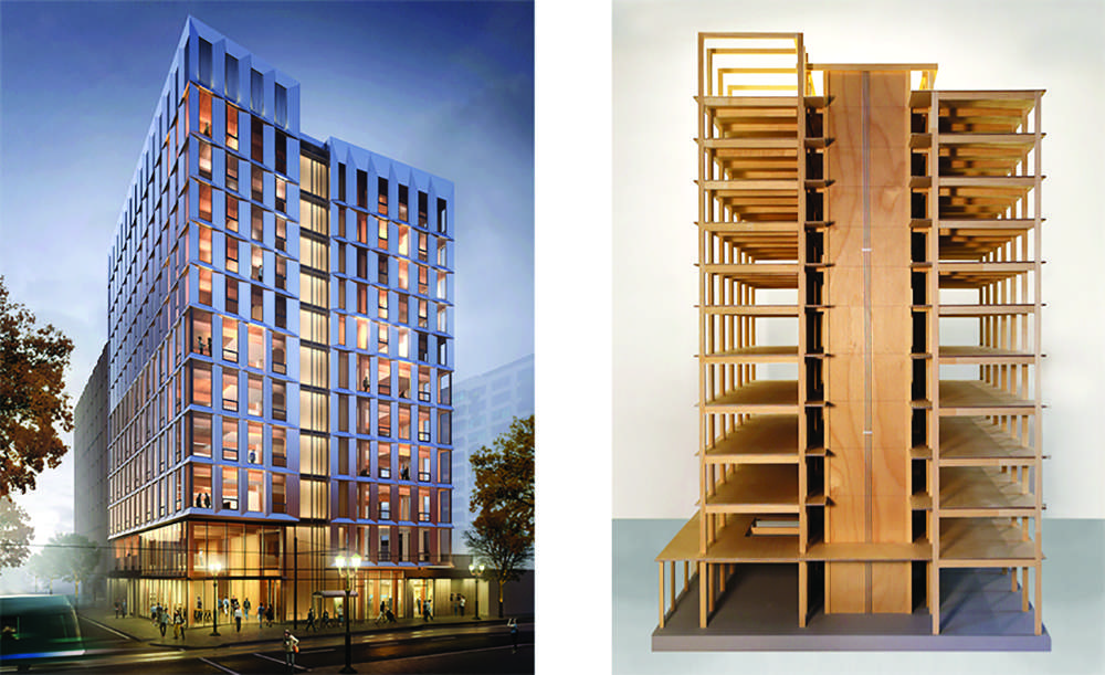 Officials in Oregon have approved construction permits for the first all-wood high-rise building in the nation. (LEVER Architecture photo)