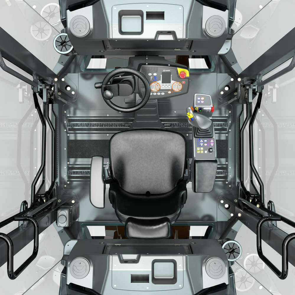 Easy drive in the Hamm DV+: here the driver's seat, steering column, dashboard, joystick and multifunction armrest form a harmonious unit that enables relaxed working.