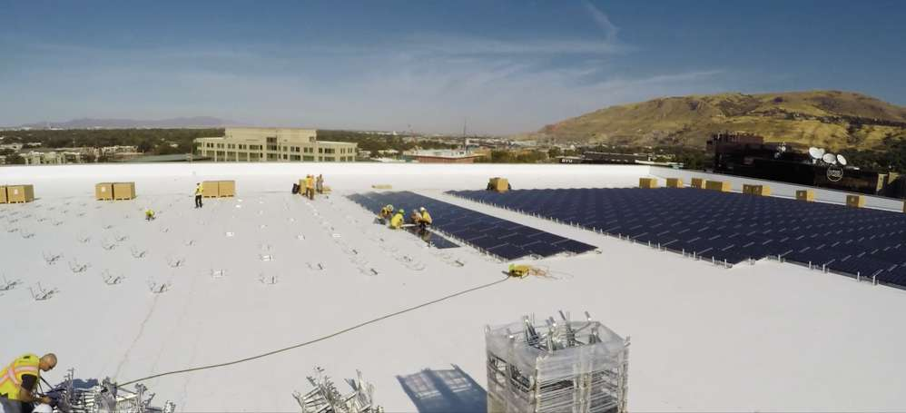 Already completed is the installation of 2,700 solar panels covering 80,000 sq. ft.