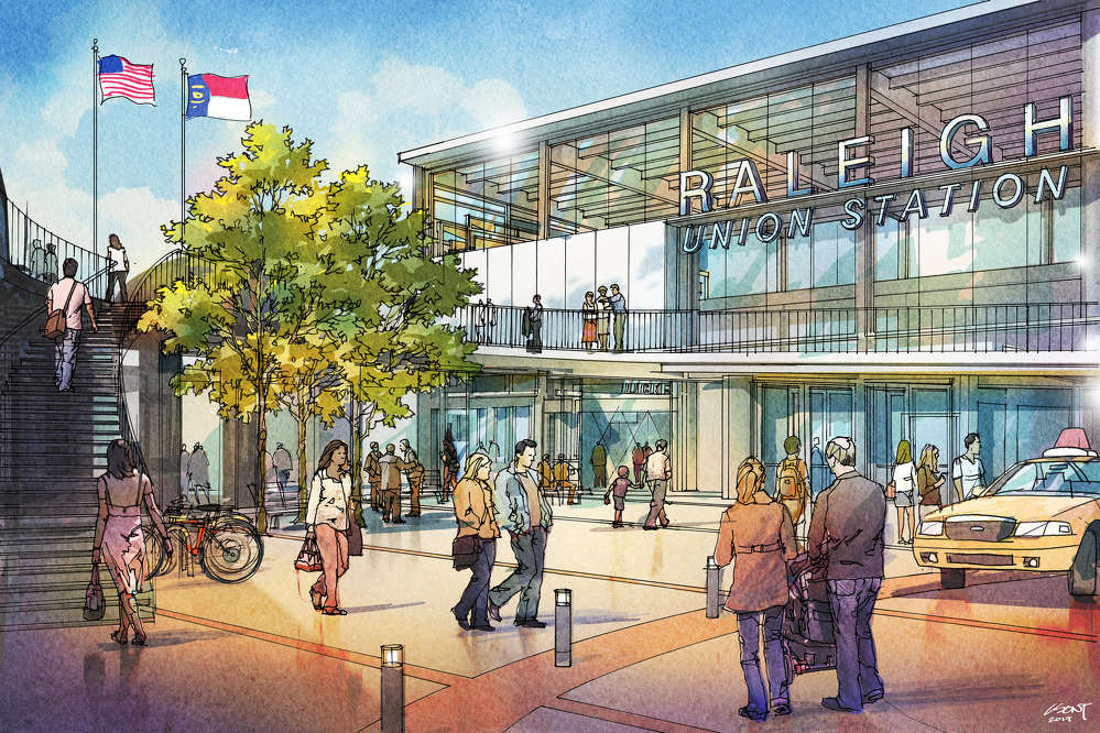 An artist's rendering of the completed Raleigh Union Station. (NCDOT rendering)