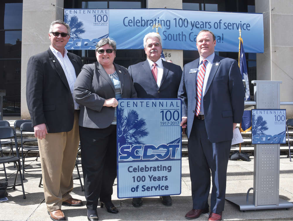 Former (and current) SCDOT State Highway Engineers pose for a photo at the celebration, including (L-R) John Walsh, Christy A. Hall, Don Freeman and Leland Colvin. (Rob Thompson, SCDOT photo)
