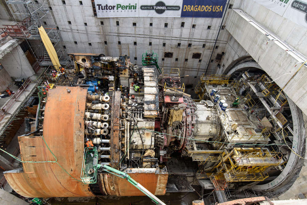 In this June 2017 photo, disassembly is revealing the complex inner workings of the machine that completed a 9,270-ft. tunnel beneath Seattle this spring. (WSDOT photo)