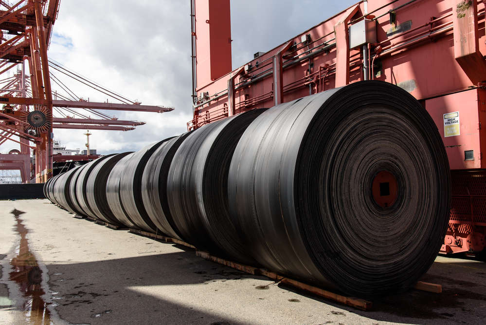 These spools, sitting on Terminal 46 in Seattle, are part of the conveyor belt used to carry spoils out of Bertha, the SR 99 tunneling machine.  (WSDOT photo)