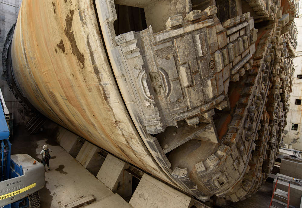 This April 2017 photo shows Bertha, the SR 99 tunneling machine, parked in her final resting spot within the disassembly pit near Seattle Center. (WSDOT photo)