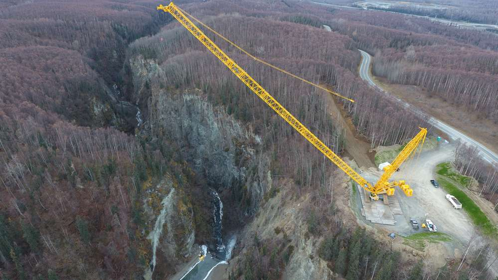 A 400-ft. (122 m) crane, the largest in the state, will handle the task of taking down the dam, which was built between 1927-29 by the Anchorage Light and Power Co.