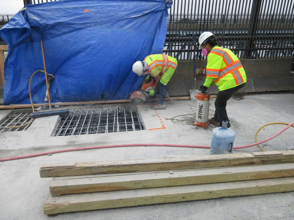 Current construction on the southbound span includes concrete deck patching. (ConnDOT photo)