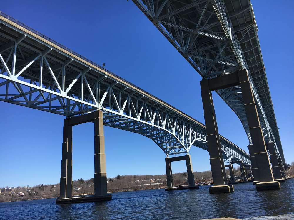 The Gold Star Memorial Bridge is a pair of steel truss bridges that carry both Interstate 95 and U.S. Route 1 across the Thames River. (ConnDOT photo)