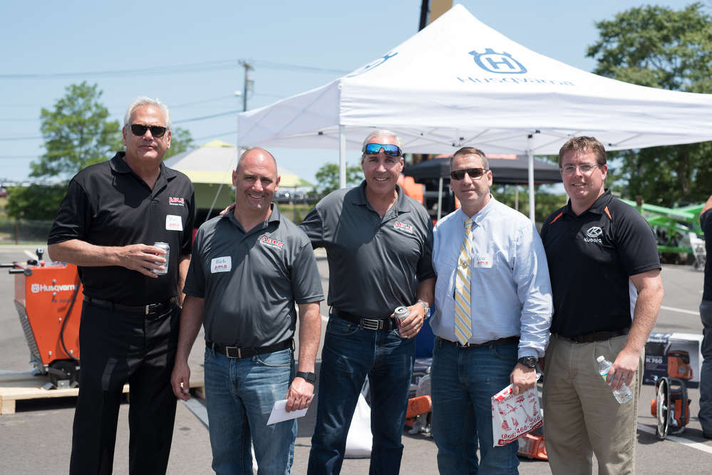 (L-R): ABLE sales managers Perry Rosen, Rich Mummendy and Chris Esposito meet up with Lou Ventura of EWG Glass and Tom Patterson, Kubota regional sales manager.