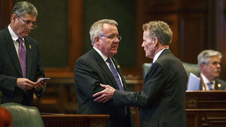 The Illinois House voted on July 6, 2017, to override Gov. Bruce Rauner's vetoes on an income tax hike and budget, breaking the state's historic budget impasse that has lasted more than two years. (Chicago Tribune photo)