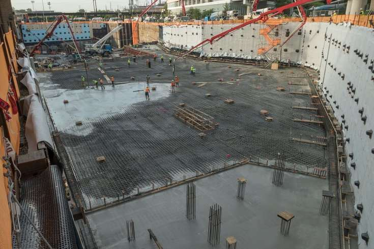 For the health system's New Patient Pavilion facility in University City, crews completed what Penn claims is the largest single concrete pour in city history. (Philly.com photo)