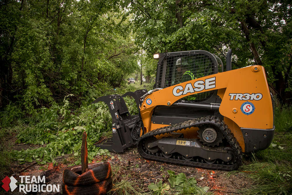 Case Construction Equipment dealer Southeastern Equipment Co. Inc. donated the use of two TR310 compact track loaders with grapple buckets to Team Rubicon for Operation Joe Louis — an urban blight response project in Detroit, Mich.