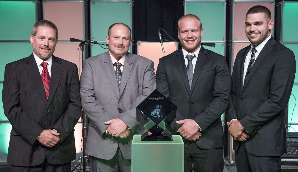 """Mack Trucks crowned the """"Slackers"""" (above) from CIT Trucks in Rockford, Illinois champions of the 2017 Mack Masters Competition final held at the Mack Customer Center in Allentown, Pennsylvania. From left to right are Jim Garner, Tim Stahl, TJ Stahl and Chris Zahara. The CIT Trucks team beat out eight others for the title during a comprehensive, hands-on final challenge designed to test the skills of Mack's top service technicians."""