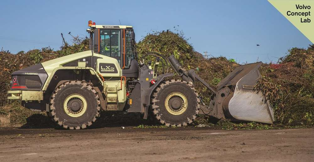 The LX1 prototype electric hybrid wheel loader achieved around a 50% improvement in fuel efficiency compared to its conventional counterparts.