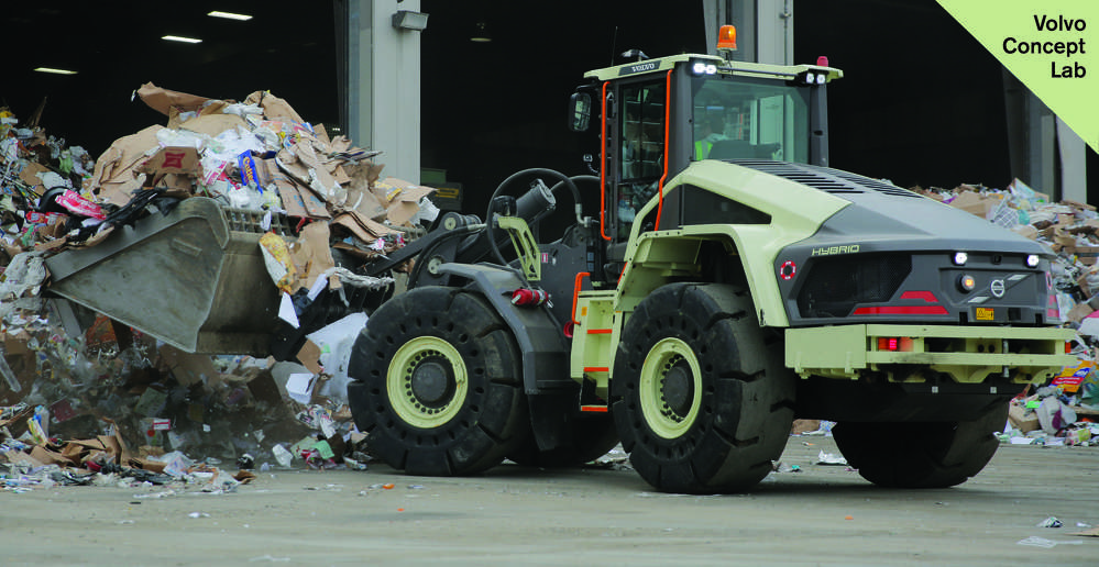 Volvo CE's LX1 prototype hybrid wheel loader performed hundreds of hours of real work in two applications at Waste Management facilities in California.