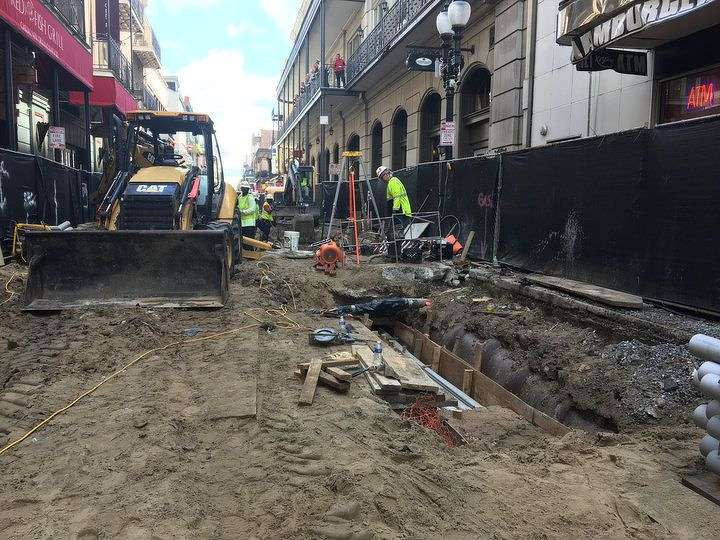 On April 24, construction crews began hammering away at the first block of Bourbon Street at Canal Street, disemboweling the ground to drop in new utility lines for the first time since 1928.