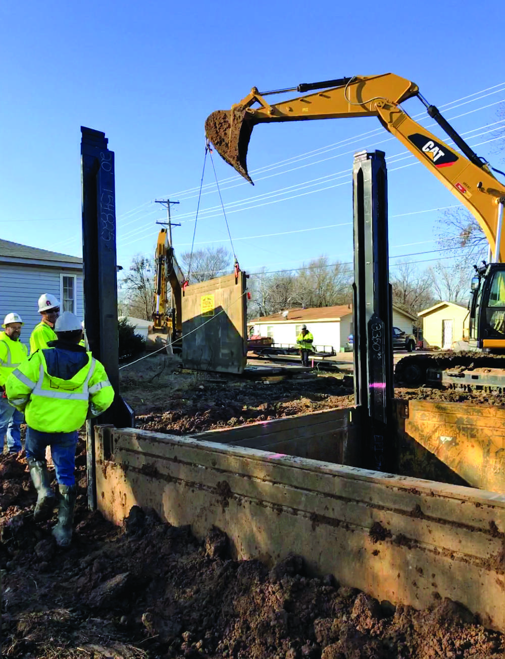 """""""We only had about a 25 ft. radius of space around where the wet-well was going to go, so we didn't have any room for sloping or benching,"""" said RedStone's Kurt Cosse. """"Riggs happened to have a Slide Rail System that we needed and everything kind of fell into place."""""""