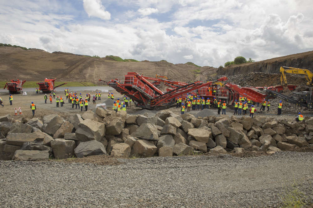 The event and product demonstration were hosted by Alex Brewster & Sons, Craigpark Quarry, Edinburgh. At the event Terex|Finlay unveiled three brand new models — the J-1160 and J-1170 (direct drive) jaw crushers and the I-120RS impact crusher.