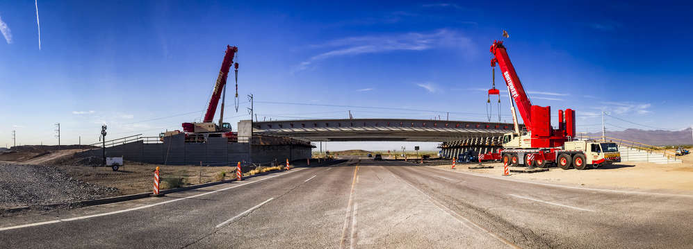With girder placement complete at the 17th Avenue interchange, crews are set to place 16 girders at the 40th Street overpass, also in the Pecos corridor. (ADOT photo)