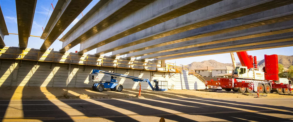 The girders are the first placed for the Arizona Department of Transportation's South Mountain Freeway project. (ADOT photo)