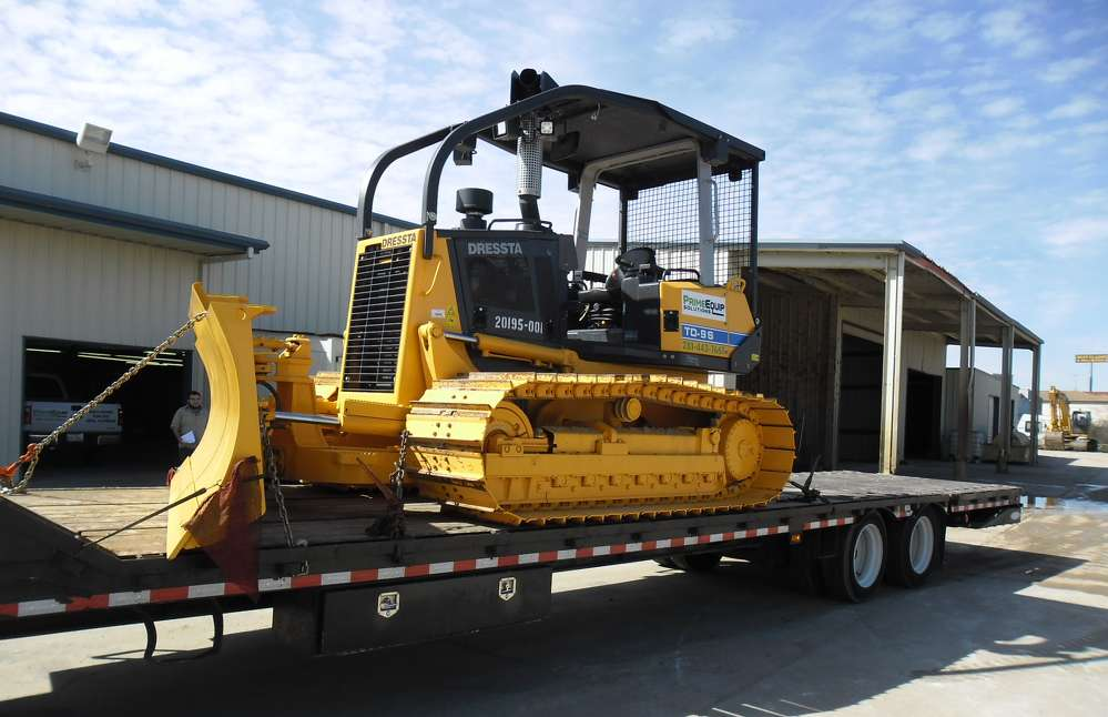 A Dressta bulldozer is loaded and ready for delivery to a Prime Equip Solutions customer in the Houston area.