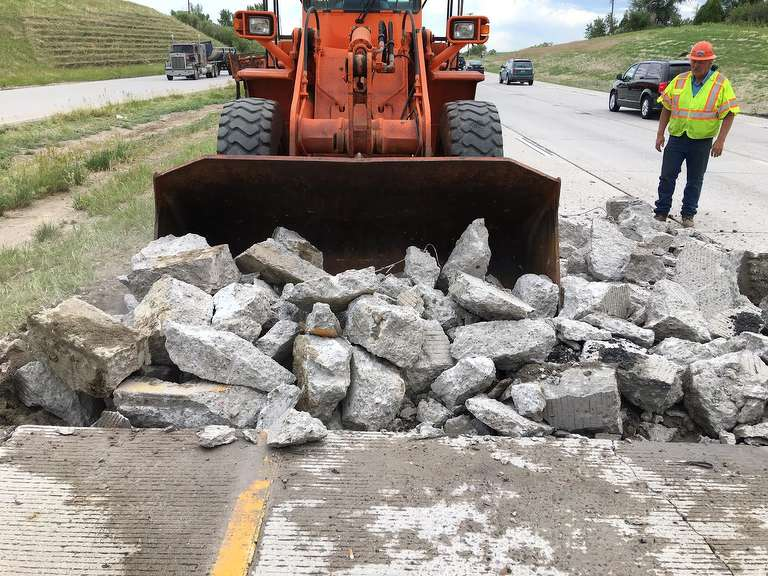 Colorado Department of Transportation maintenance crews have had to conduct emergency repair work on CO 83 between Belleview and Stroh Road to clean-up broken concrete.