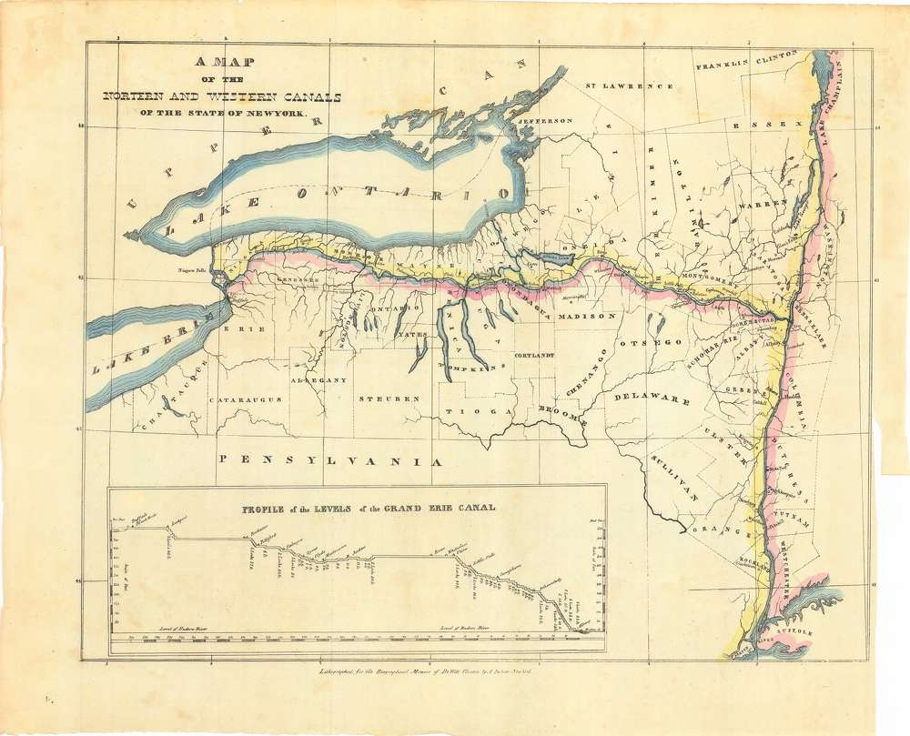A map of the route of the Erie Canal with elevations.