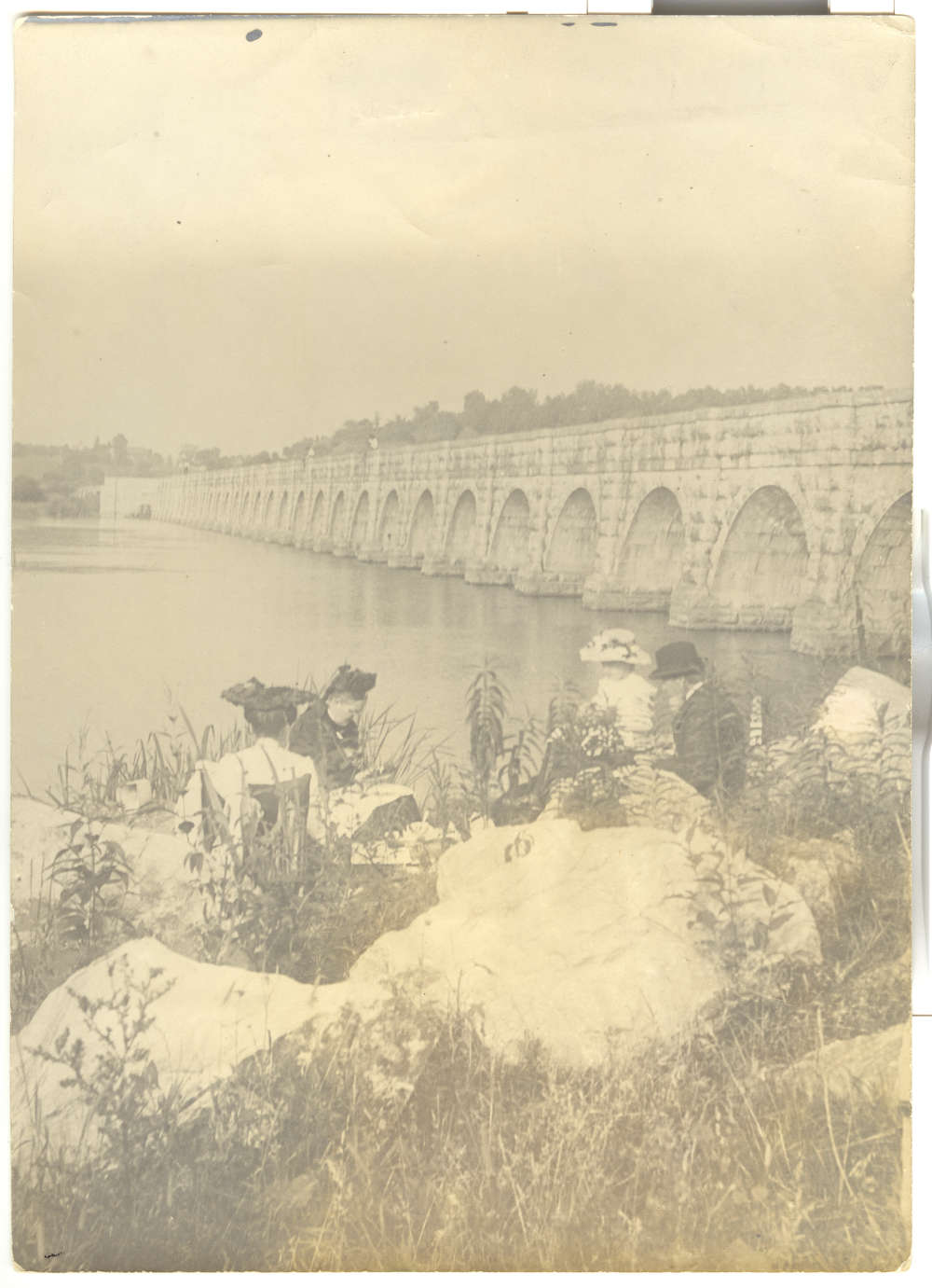 In this circa 1890s photo, picnickers enjoy the afternoon with the Richmond aqueduct as a backdrop. This aqueduct carried the canal over the Seneca River at Montezuma (it also was called the Montezuma aqueduct.)
