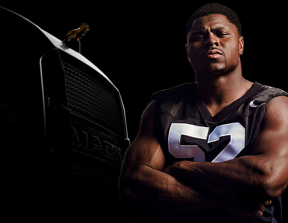 Mack Trucks and Oakland Raiders defensive end Khalil Mack have reached a sponsorship agreement, under which Mack will support the Brooklyn-born truck maker in promoting exciting news to be announced Sept. 13, 2017.