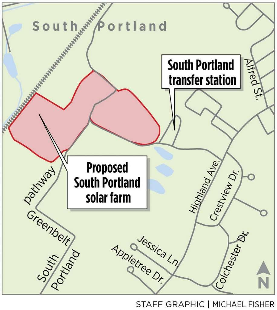 The one-megawatt solar array, which is under construction at South Portland's capped landfill off Highland Avenue, is expected to be completed by September.