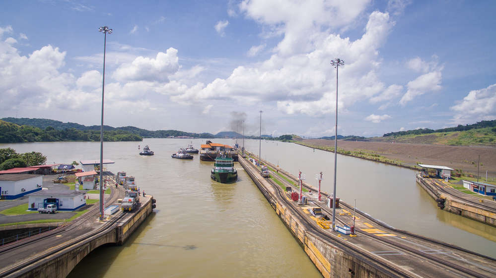 The barge entered the first lock of the Panama Canal from the Pacific Ocean at the end of June, beginning a roughly 16-hour trip through the Canal and its six locks before reaching the Caribbean Sea, and then traveling north up the Atlantic Coast.
