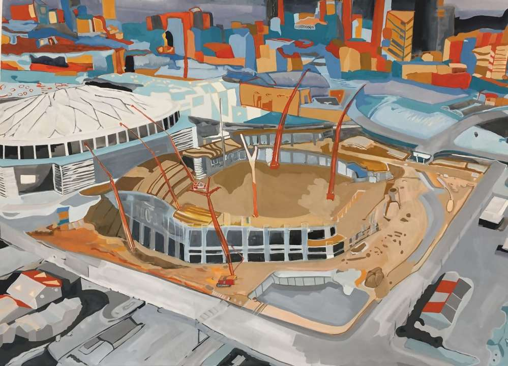 Georgiadome & Mercedes-Benz Park, gouache on paper, 32×46. Painting by Sheri Crider.