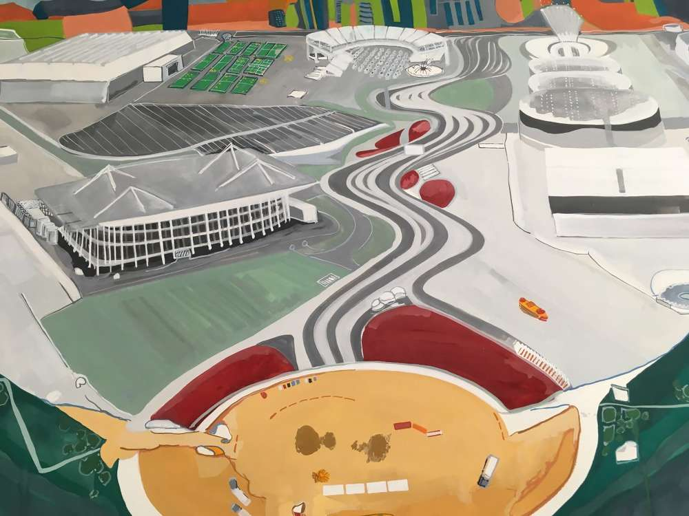 Rio Olympic Stadium, gouache on paper. Painting by Sheri Crider.