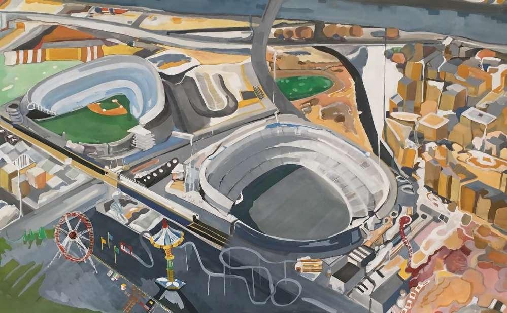Yankee Stadium, sim Carnival, gouache on paper, 32×45. Painting by Sheri Crider.