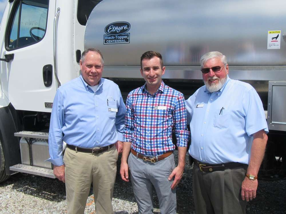 (L-R): Denny Sayler, E.D. Etnyre, joins Thor Hess, executive vice president, and Don Miller, Indianapolis branch manager, both of Southeastern Equipment Company, to welcome attendees to the event.