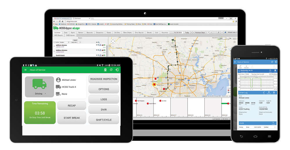 CSS eLogs includes a driver app for smartphones or tablets and a website where managers can review Driver Vehicle Inspection Reports (DVIRs), driver statuses, shift and cycle time, previous violations, and daily driver logs and comments.