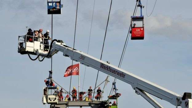 Crews used a mobile crane to bring the passengers to safety (Photo Credit: BBC).