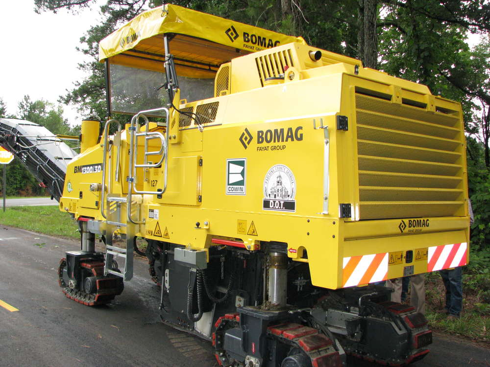 Paulding County Georgia DOT's new Bomag BM1300/30 cold planer is ready for operation on Pleasant Grove Road in western Paulding County.
