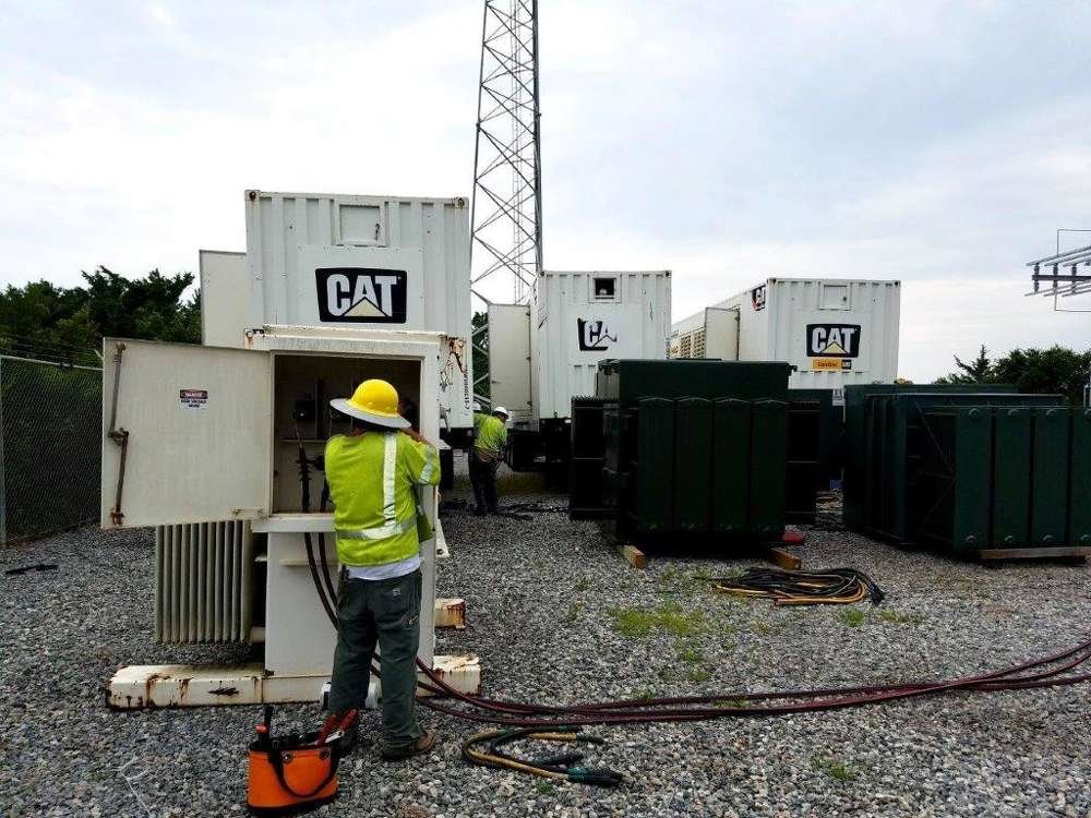 """Steve Leese, EPG sales business manager for Gregory Poole, said, """"There's a control switch gear in [the generator] that allows this machine to parallel with other machines of similar size and capacity and voltage,"""" WNCN reported. (Photo courtesy of Gregory Poole)"""