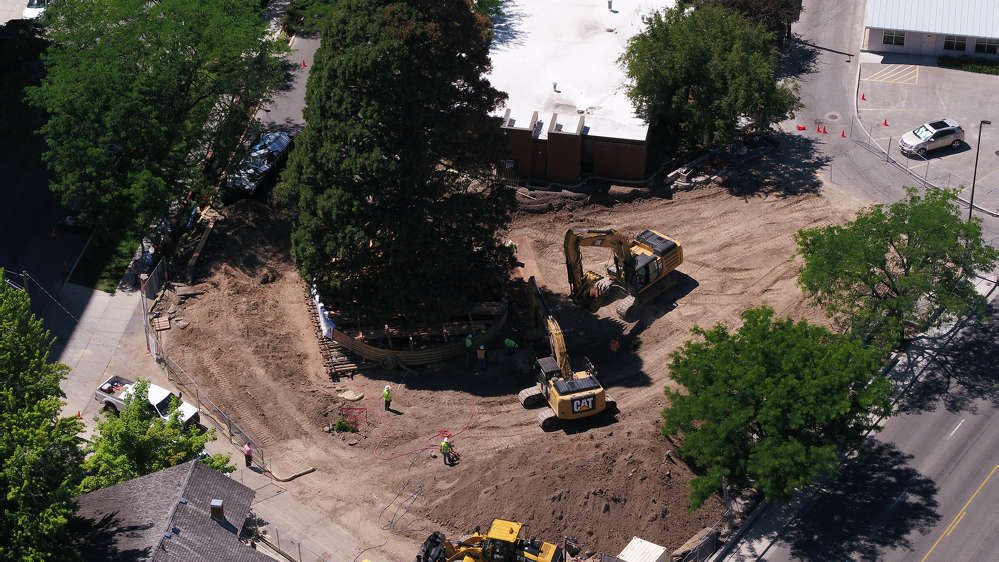 Crews took all the soil from the original location to build a bed of soil in the new location in Fort Boise Park.