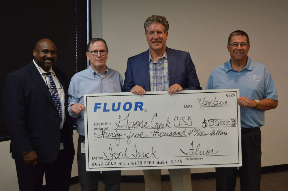 Fluor team members in Baytown, TX recently donated $35,000 to Goose Creek Consolidated Independent School District (CISD) to fund the purchase of a food truck.
