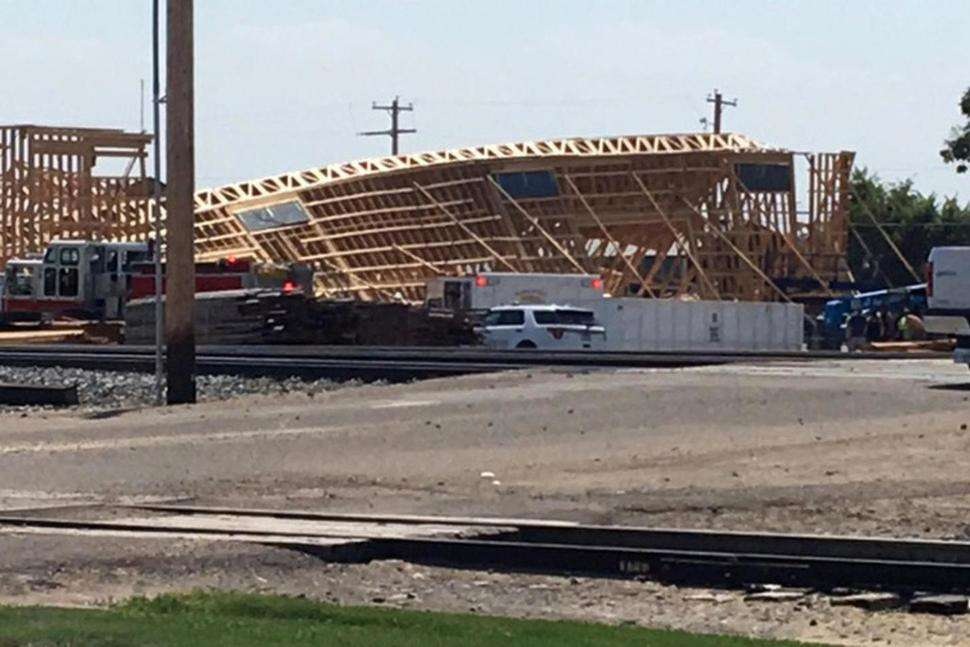 Six construction workers were injured when a building that was under construction collapsed in the southwestern Idaho town of Parma. (Photo Credit: Ashley Martin)