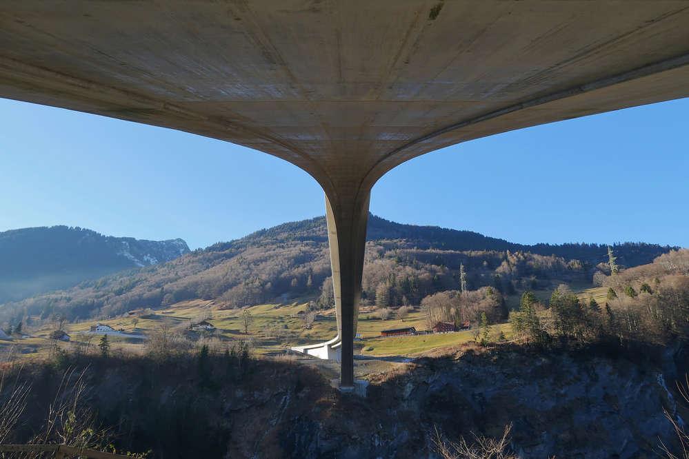 Underneath Switzerland's Taminabrücke bridge.
