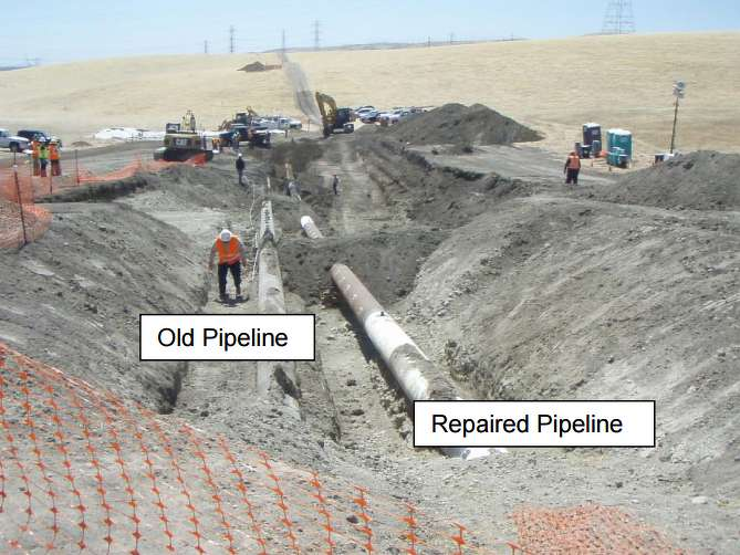 Image from Central Valley Water Quality Control Board report on Shell Oil's May 20, 2016, pipeline break. Picture shows inactive older pipeline and newer pipeline that ruptured, spilling about 21,000 gallons of oil. (Photo Credit: Central Valley Water Quality Control Board)